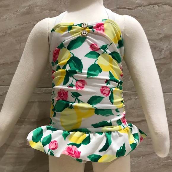 b7a68b75f9f386 Janie and Jack Swim   Suit Yellow Lemons And Pink Roses One Piece ...